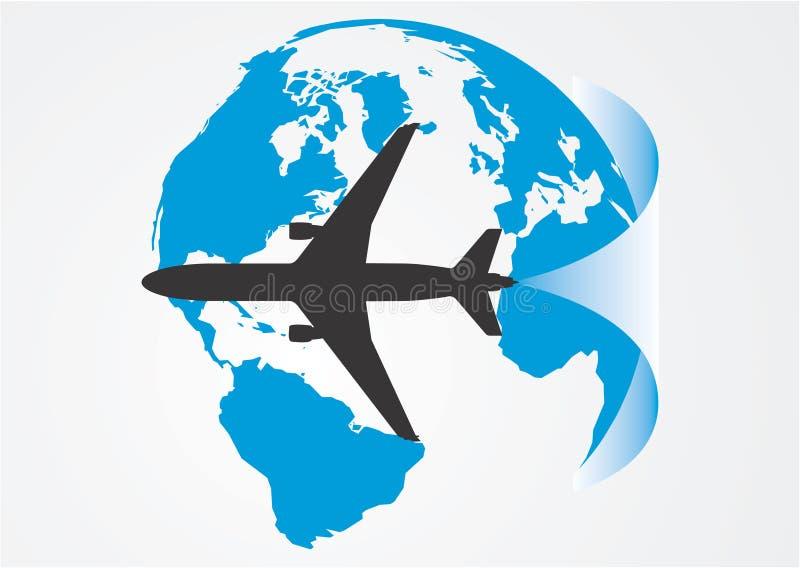 Luchtvaart rond de bol. stock illustratie