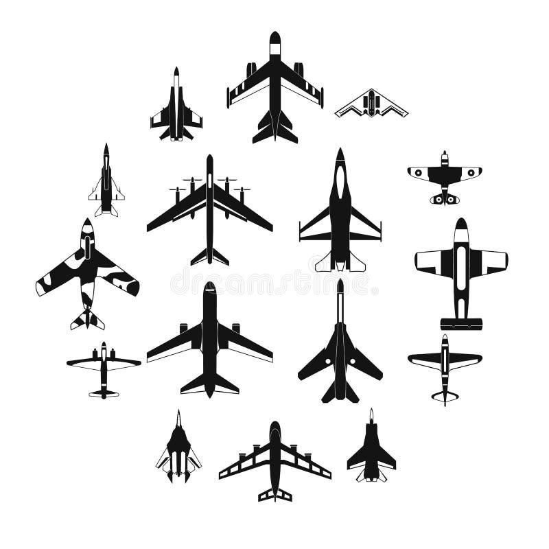 Luchtvaart vastgestelde pictogrammen stock illustratie