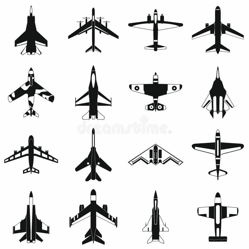 Luchtvaart vastgestelde pictogrammen vector illustratie