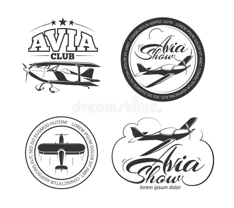 Luchtvaart, vliegtuig vectorkentekens, emblemen, emblemen, etiketten royalty-vrije illustratie