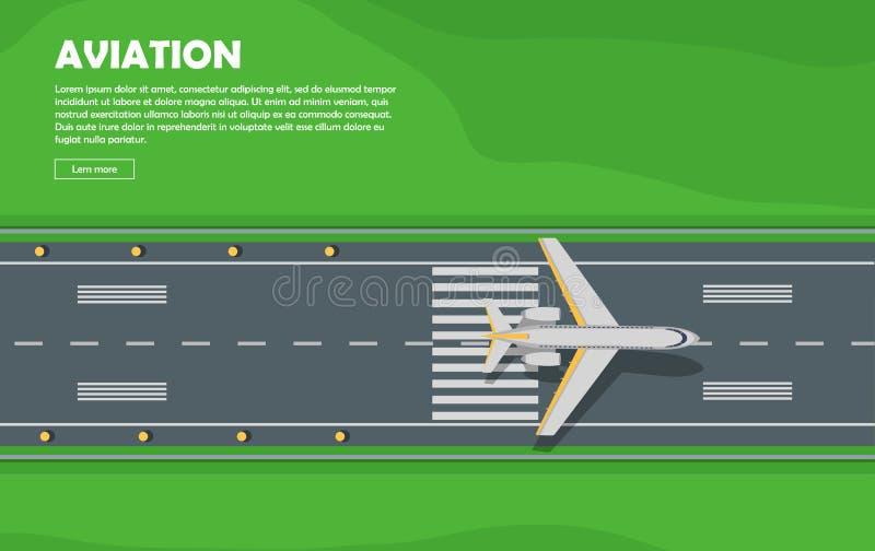 luchtvaart Vliegtuigen baan vlucht Vector banner stock illustratie