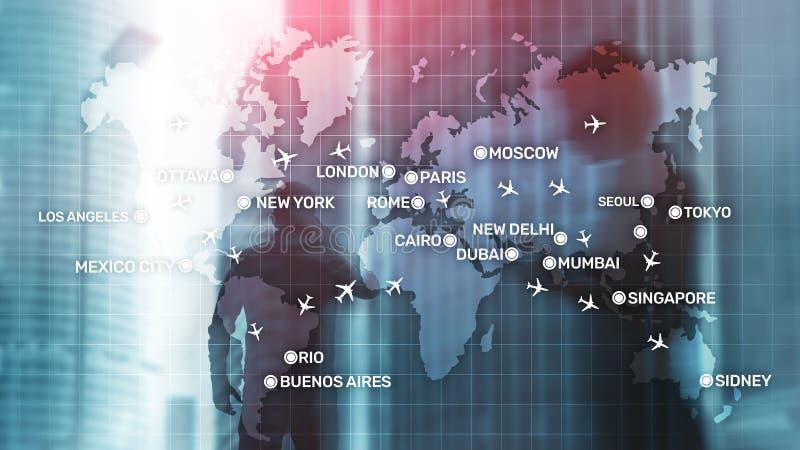 Luchtvaartbehang met vliegtuigen over de kaart met de namen van de grote stad Digitale kaart met vliegtuigen rond het wereldconce stock afbeelding