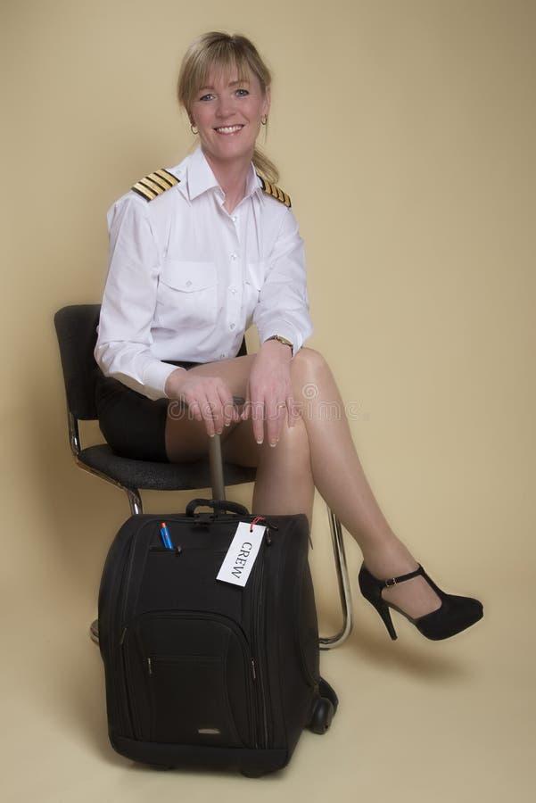 Luchtvaartlijn proefzitting op een stoel stock foto