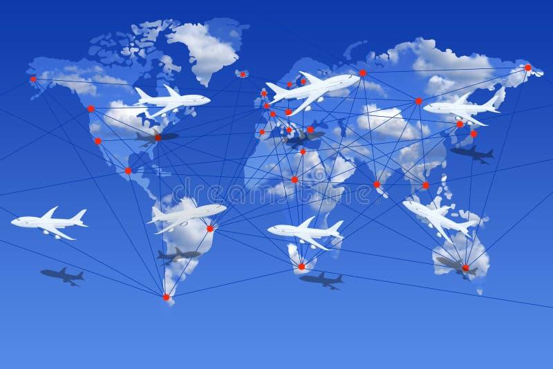 Luchtvaartlijnen de wereld over vector illustratie