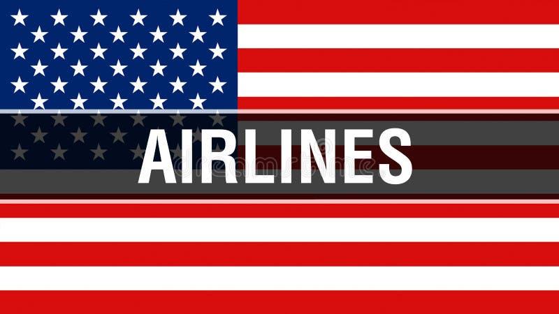 Luchtvaartlijnen op een de vlagachtergrond van de V.S., het 3D teruggeven De vlag die van de Verenigde Staten van Amerika in de w stock illustratie