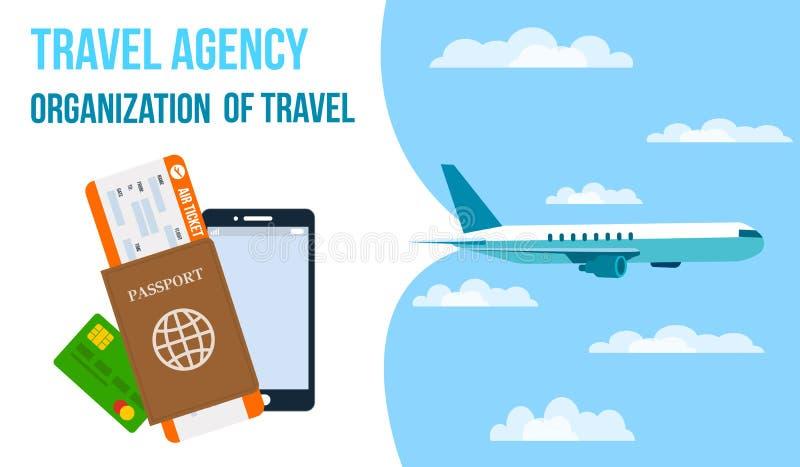 Luchtvaartlijnen, Reisbureau Horizontale Vectorbanner vector illustratie