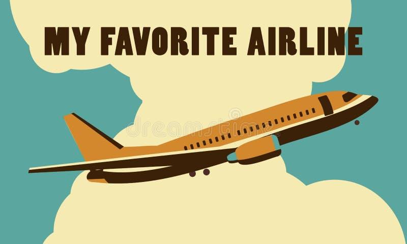 Luchtvaartlijnen retro affiche royalty-vrije illustratie