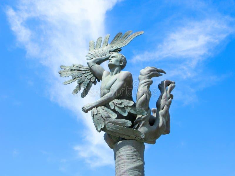 Luchtvaartmonument de Val van Icarus, Griekenland, Kreta, Chania stock afbeelding