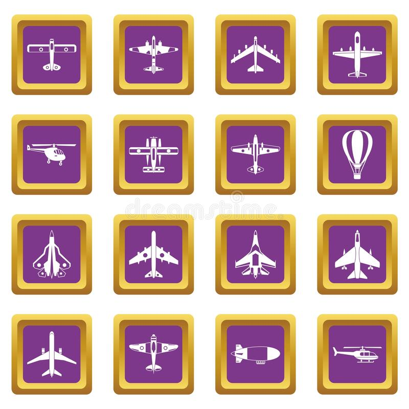 Luchtvaartpictogrammen geplaatst purper royalty-vrije illustratie