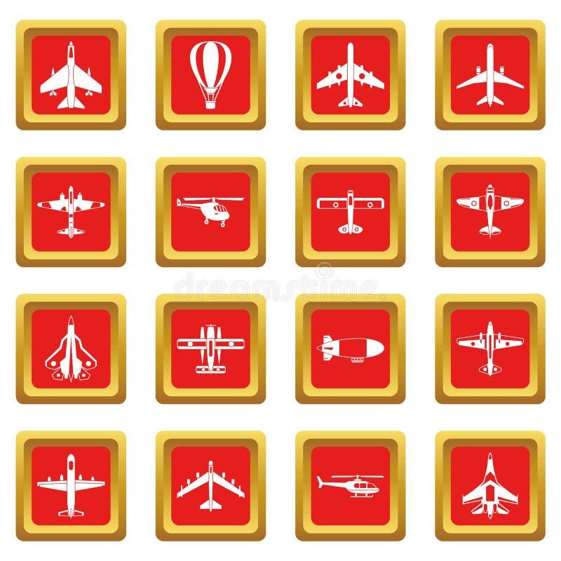 Luchtvaartpictogrammen geplaatst rood royalty-vrije illustratie