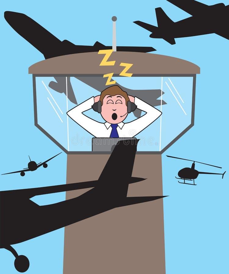 Luchtverkeersleider Sleeping vector illustratie