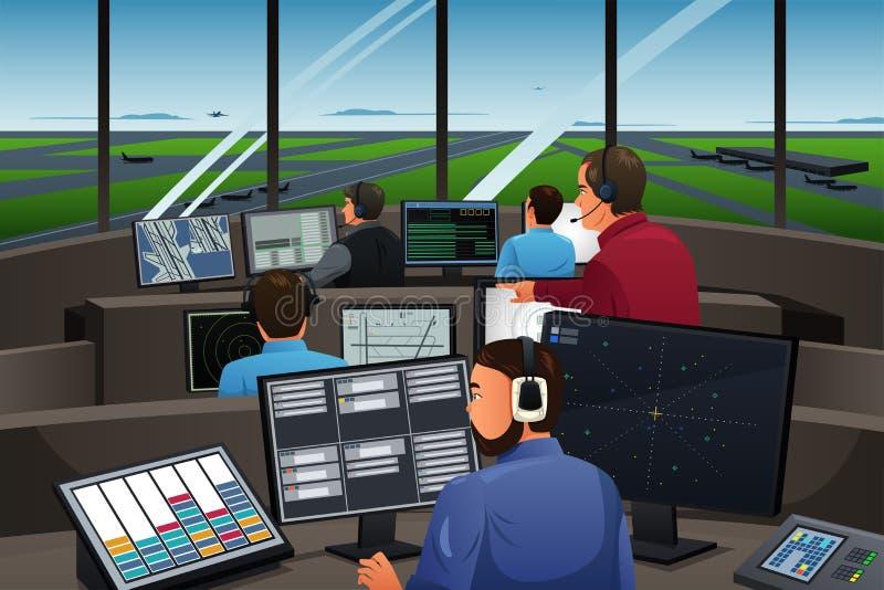 Luchtverkeersleider Working in de Luchthaven vector illustratie