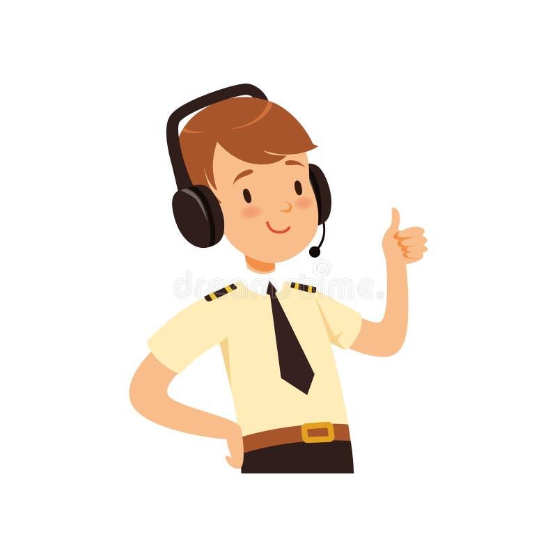 Luchtverkeersleiderkarakter, jongen in eenvormig met hoofdtelefoon van vectorillustratie stock illustratie