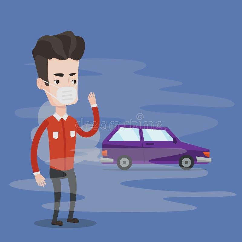 Luchtvervuiling door voertuiguitlaat vector illustratie