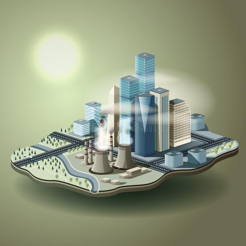 Luchtvervuiling in grote stad Vector isometrische illustratie van envi stock illustratie