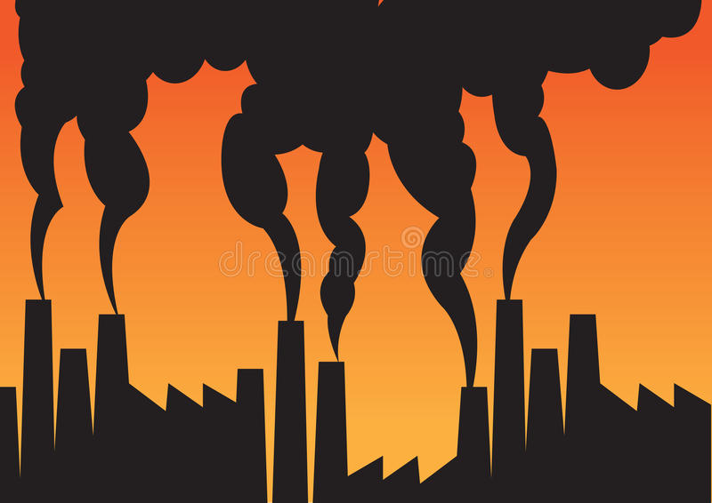 Luchtvervuiling van fabrieken met schoorstenen stock illustratie