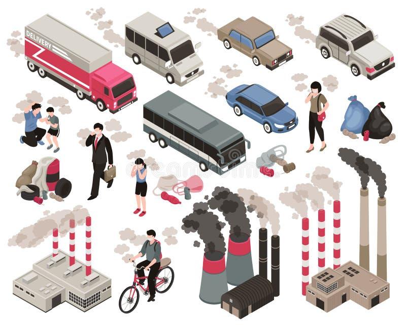 Luchtvervuilings Isometrische Reeks royalty-vrije illustratie
