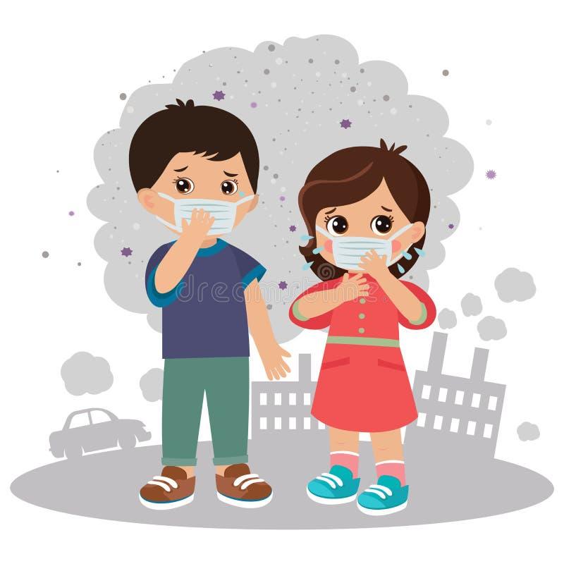 Luchtvervuilings vectorillustratie Luchtvervuiling: Smog en Mist in de Grote Stad royalty-vrije illustratie