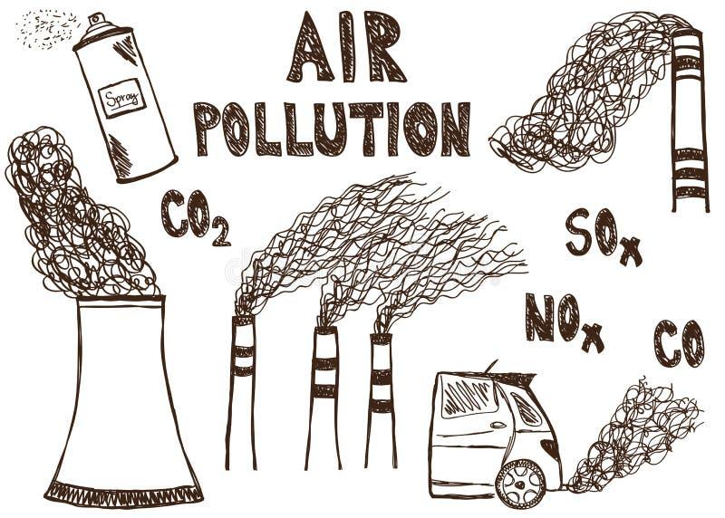 Luchtvervuilingskrabbel vector illustratie