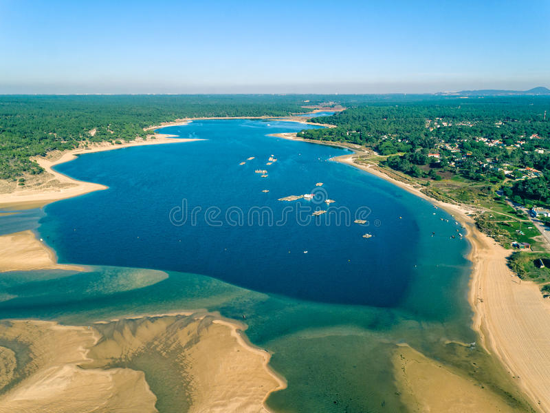 Luchtview Lagoa DE Albufeira royalty-vrije stock foto's