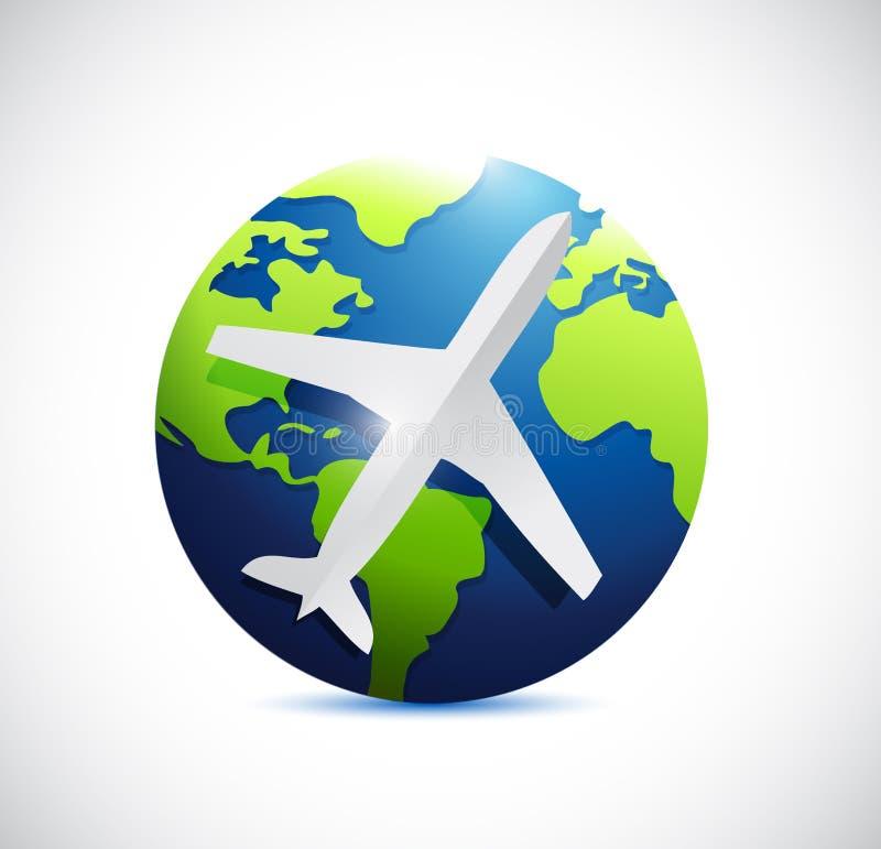 Luchtvliegtuig en internationale wereldbol. stock illustratie
