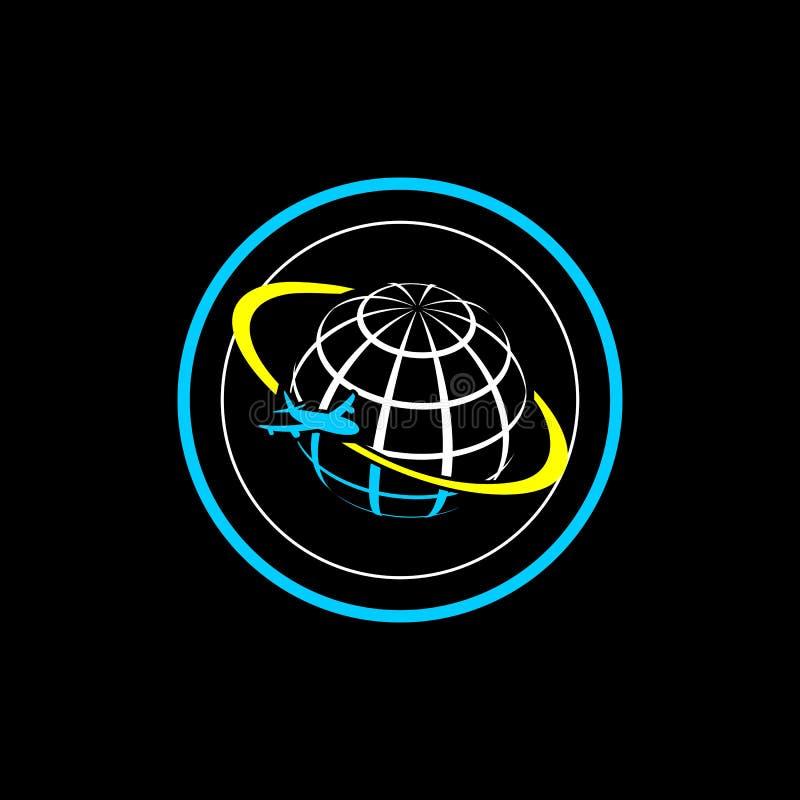 Luchtvliegtuig Logo Design met Bol, het Vliegtuigembleem van de Cirkellucht vector illustratie