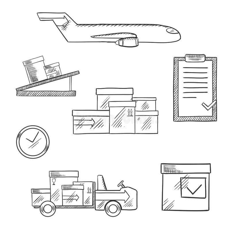 Luchtvracht en logistiekzaken geschetste pictogrammen vector illustratie