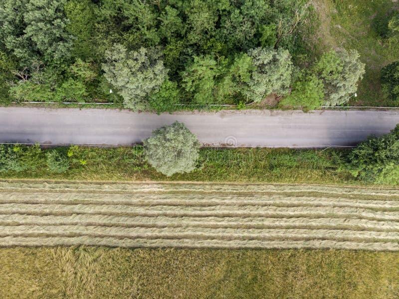 Luchtzicht van een weg en een geploegd veld Van bovenaf gezien bomen en vegetatie Biologische landbouw stock foto's