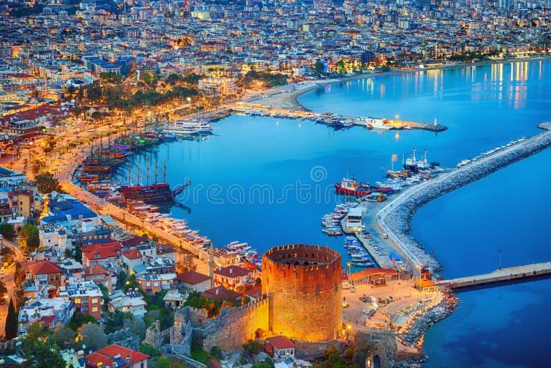 Luchtzonsondergangmening van Antalya, Turkije royalty-vrije stock afbeeldingen
