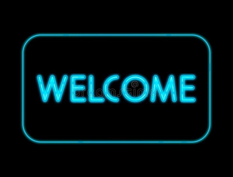 Luci al neon benvenute su fondo nero illustrazione di stock