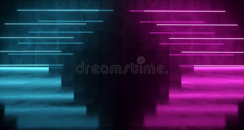 Luci al neon a forma di Arow di fantascienza futuristica porpora e blu su Wal fotografie stock