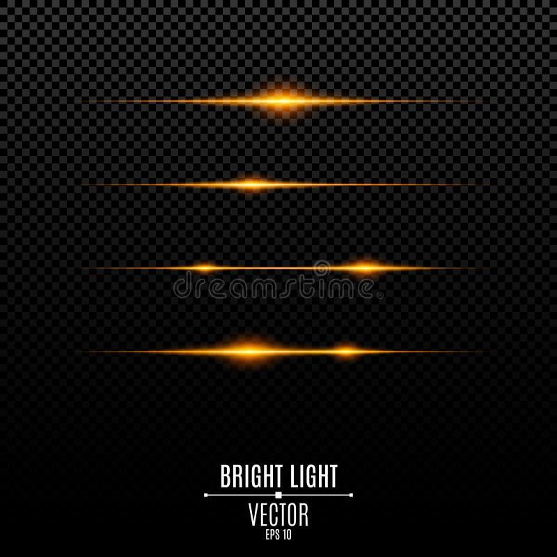 Luci arancio astratte su un fondo trasparente Flash ed abbagliamento luminosi di colore dell'oro L'effetto della macchina fotogra illustrazione vettoriale