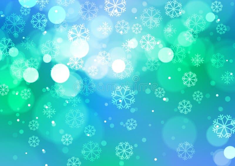Luci astratte di Bokeh con i fiocchi di neve su fondo blu illustrazione di stock