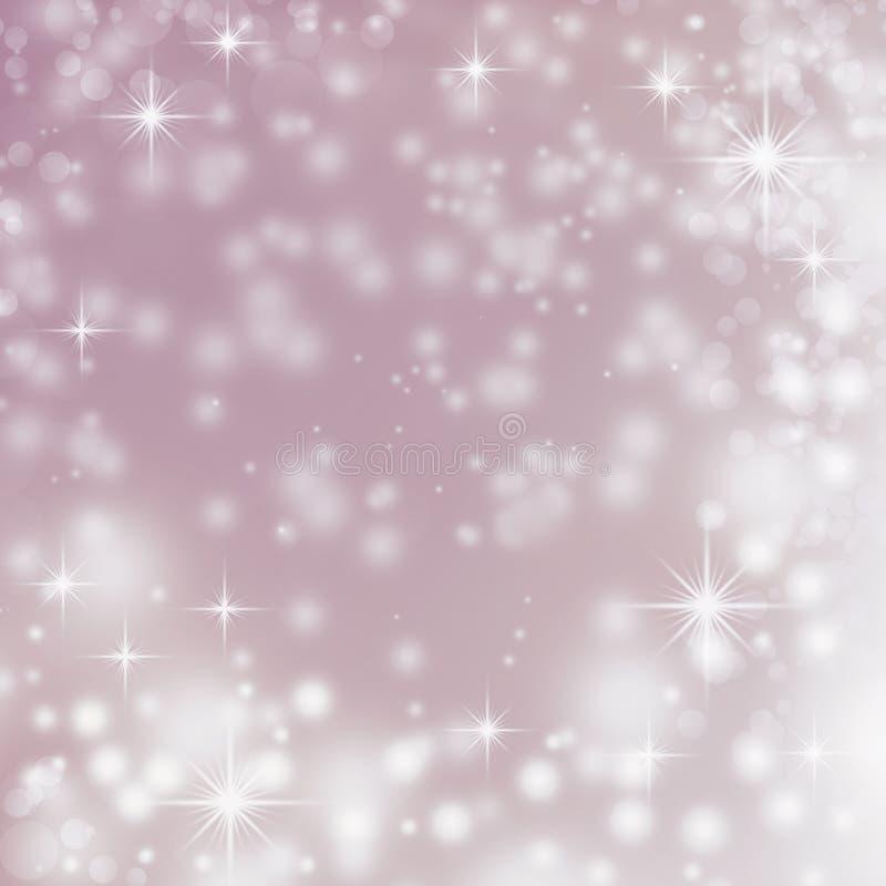 Luci bianche astratte viola di natale del fondo illustrazione vettoriale
