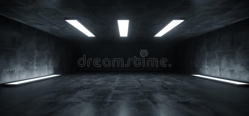 Luci bianche sotterranee della fase futuristica dello studio di Sci Fi che emettono luce in corridoio vuoto concreto riflettente  royalty illustrazione gratis