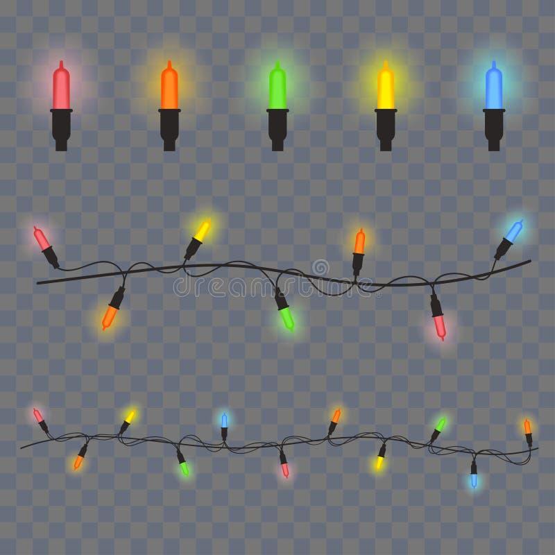 Luci d'ardore per natale, luci delle ghirlande delle decorazioni di Natale su fondo trasparente Vettore illustrazione di stock