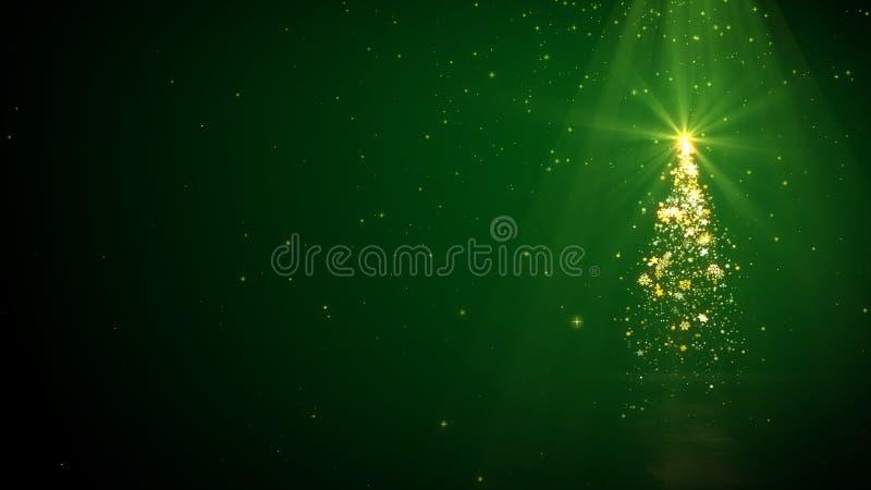 Luci dell'albero di Natale, fiocchi di neve con la stella brillante su fondo verde con il posto per testo illustrazione di stock