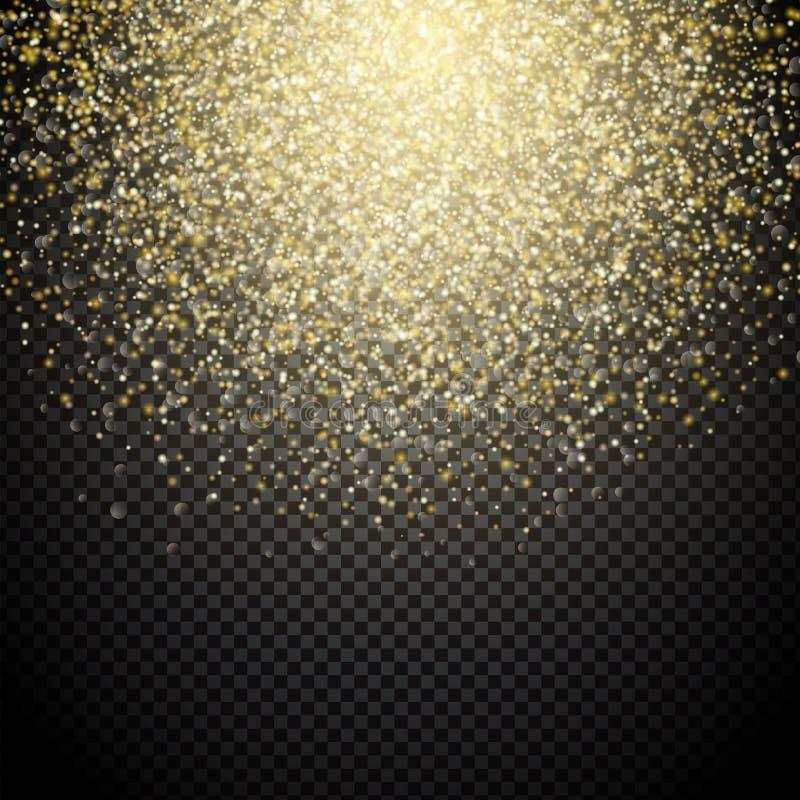 Luci dell'oro su un fondo trasparente illustrazione vettoriale