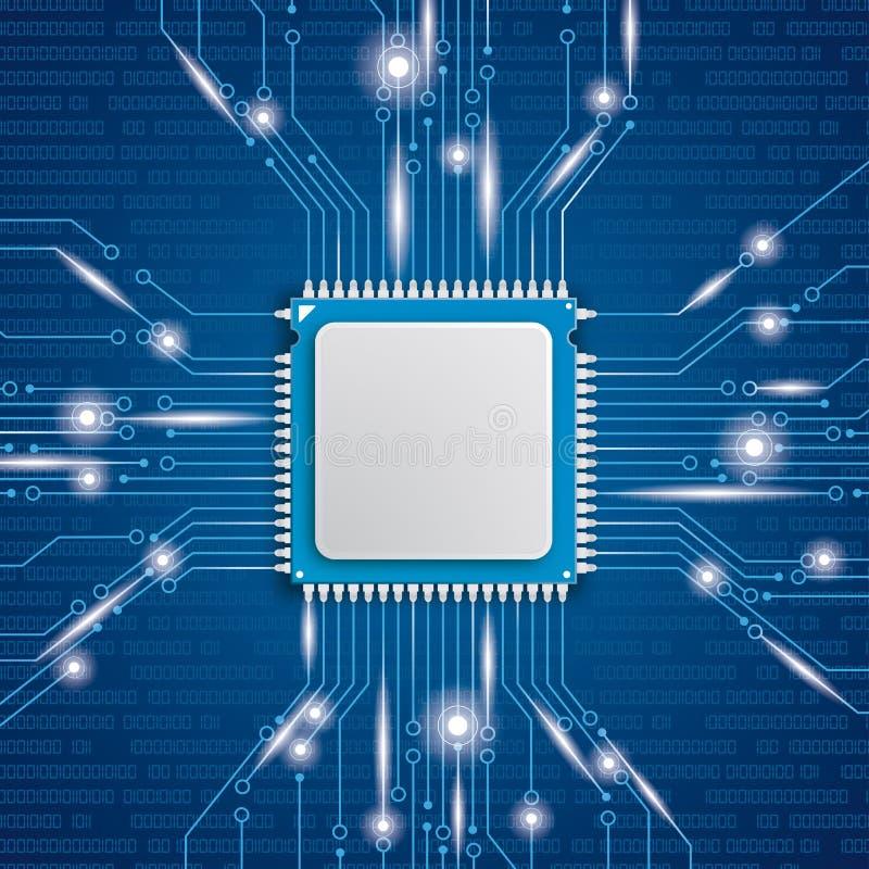 Luci dell'unità di elaborazione del microchip illustrazione di stock