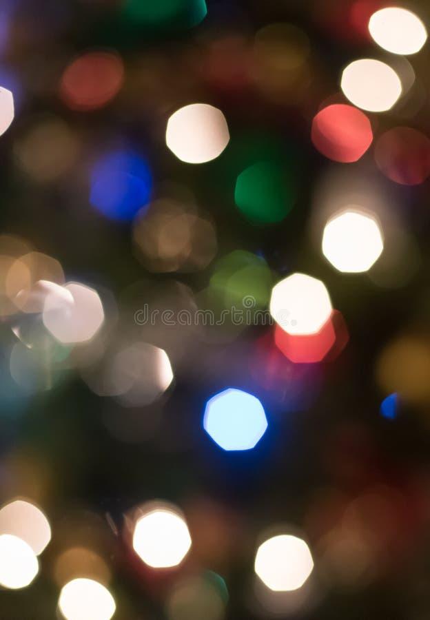 Luci della sfuocatura dell'albero di Natale fotografie stock