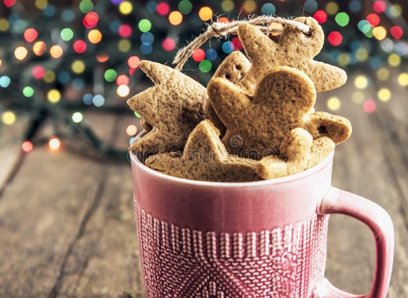 Luci di Cristmas gingerbread immagini stock libere da diritti