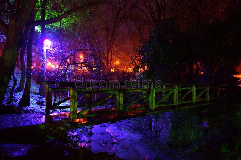 Luci di fiaba e ponte di legno in un parco immagine stock