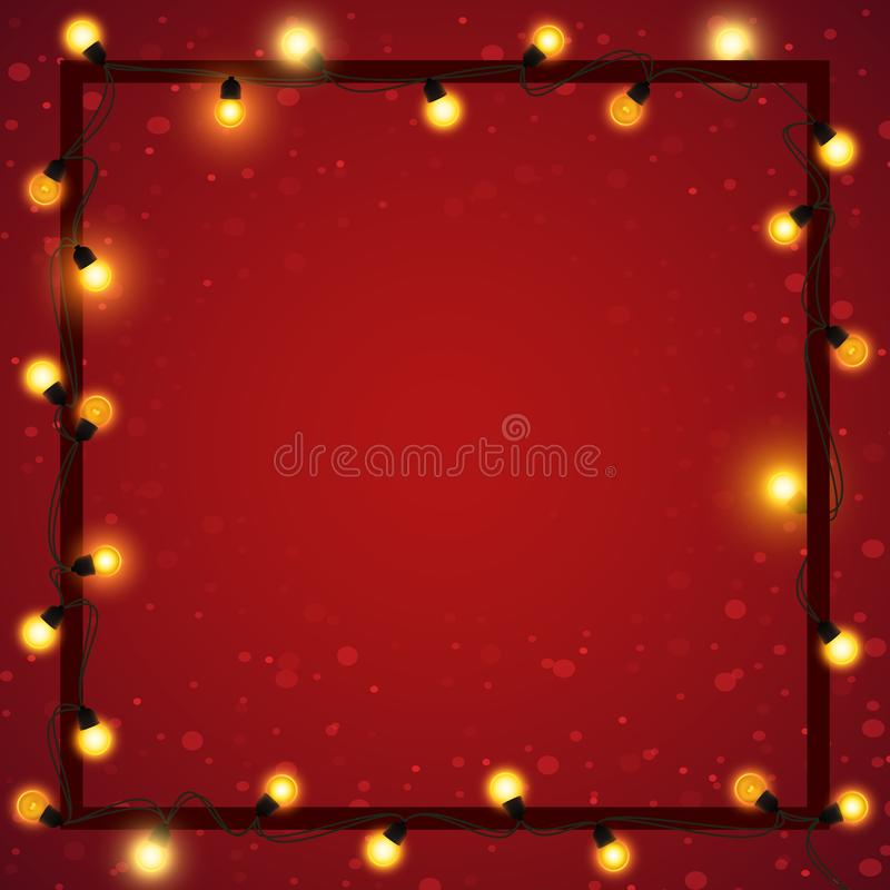 Luci di Natale con la struttura su fondo vago astratto, illustrazione di vettore illustrazione vettoriale