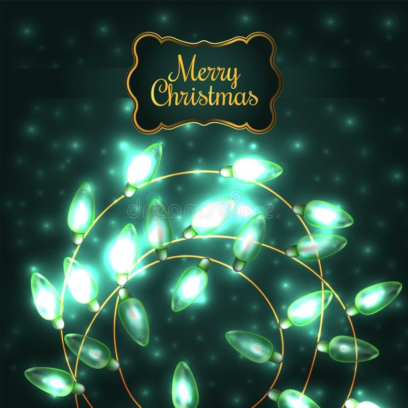 Luci di Natale d'ardore verdi variopinte illustrazione vettoriale