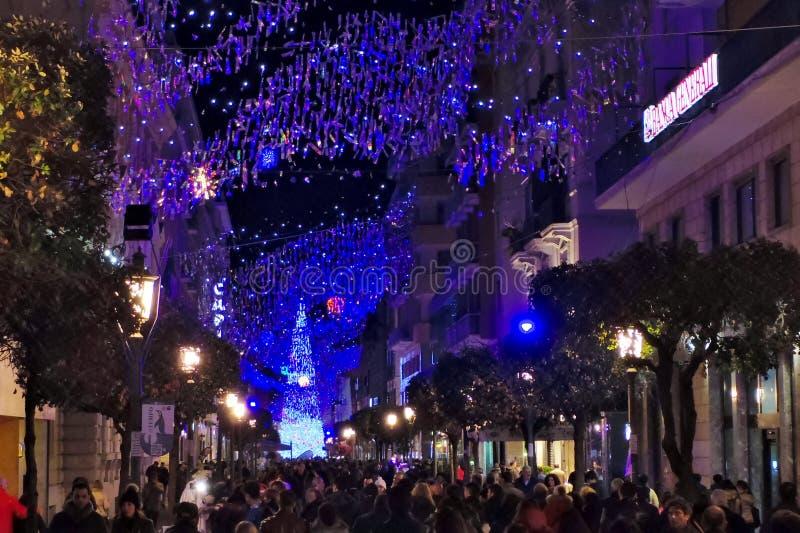 Luci di Natale di Salerno fotografie stock