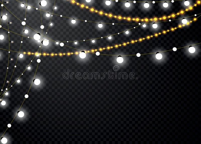 Luci di Natale isolate su fondo trasparente Insieme della ghirlanda d'ardore dorata di natale Illustrazione di vettore royalty illustrazione gratis