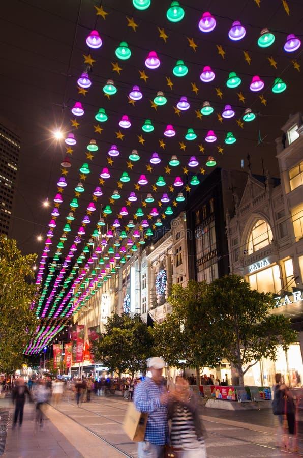 Luci di Natale a Melbourne Bourke Street Mall fotografia stock