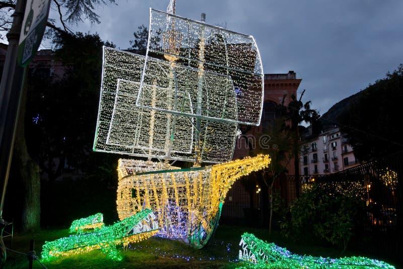 Luci di Natale in Salerno fotografia stock