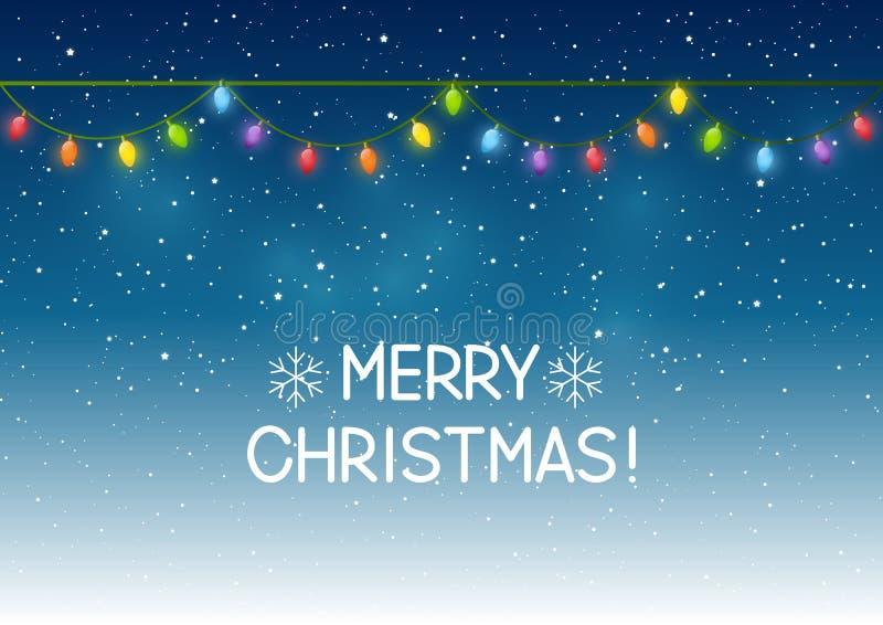 Luci di Natale su cielo notturno illustrazione di stock