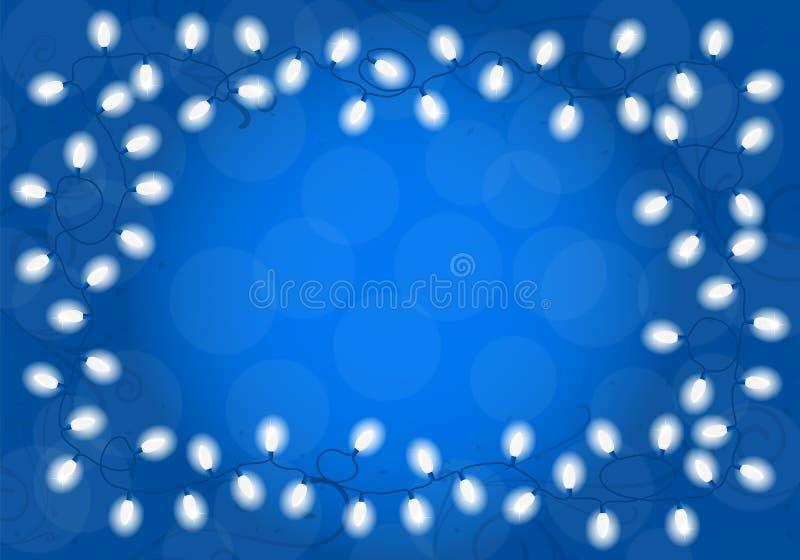 Luci di Natale su fondo blu con spazio per testo royalty illustrazione gratis